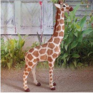 儿童认知玩具礼物野生仿真动物模型 场景创意摆件真皮长颈鹿